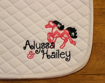 Personalized PONY Hunter Jumper All Purpose Saddle Pad--Name Included! Applique Fabric in Many Colors, Patterns