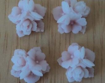 16mm lavender color resin flower cluster cabochon 4 pcs lot l