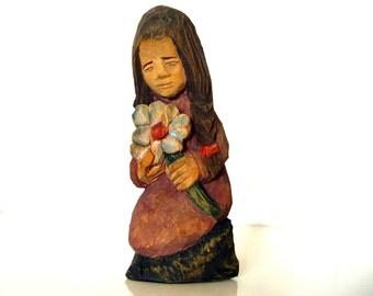 Vintage Folk Hand-Carved Wooden Figurine