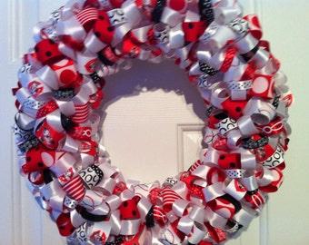Handmade Cincinnati Reds Ribbon Wreath