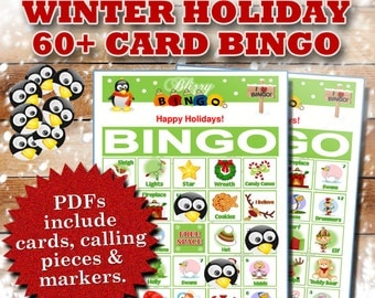 Blizzy Bingo CHRISTMAS HOLIDAY printable PDFs contain everything you need to play Bingo. You get 60+ bingo cards, calling cards & markers.