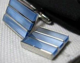 Three Stone Blue Cat Eye Cufflinks Cuff Links