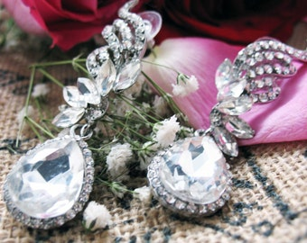 Sparkling Silver Wedding Earrings Silver Tone Sparkling Crystals Wedding Drop Pageant Earrings Silk Road Jewelry