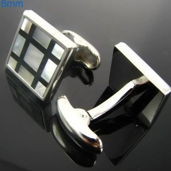 Black Checkered Mother Of Pearl Cufflinks