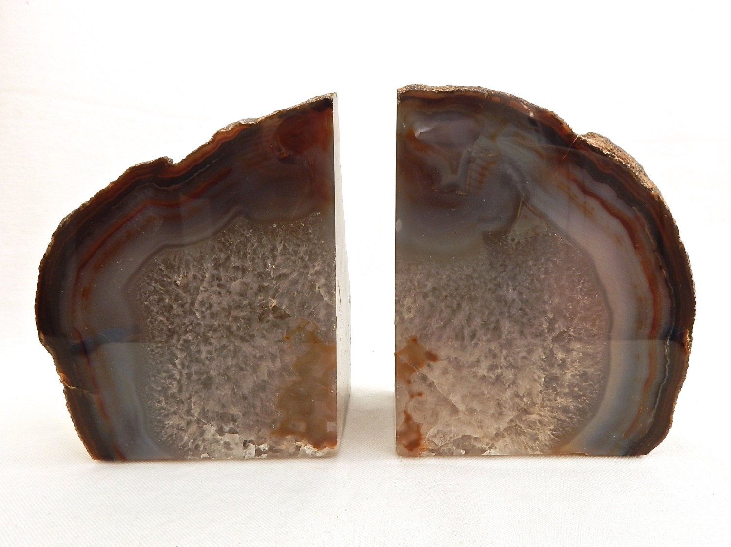 Large natural quartz geode drusy bookends exceptional agate - Geode bookends ...
