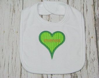 Customized Applique Heart Shaped Bib