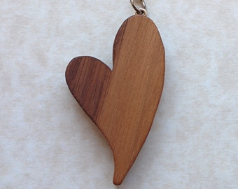 Walnut Love Heart Bag Charm