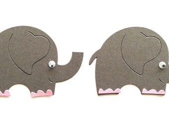 10 Cute Grey Elephant Die Cuts for Baby Handmade Cards, Card making, Scrapbooking, Nappy Cakes,Baby Shower Gift Tags Paper Craft Baby Craft