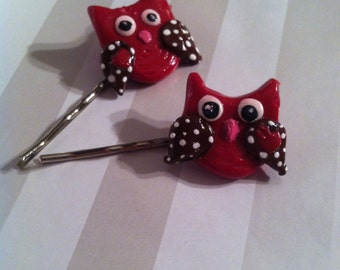 Handmade clay owl bobby pins