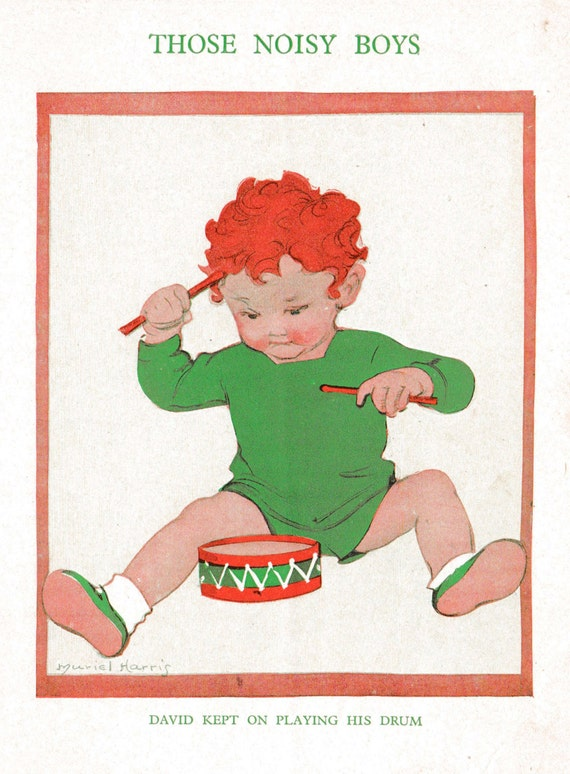 1930s print of illustration by Muriel Harris, young boy beating noisily on his toy drum, matted for framing, 8 x 10 inches