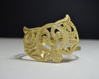 Gold upper arm cuff - arm bangle - tattoo cover bracelet - cuff bracelet - boho chic, gold bangle, gold armlet