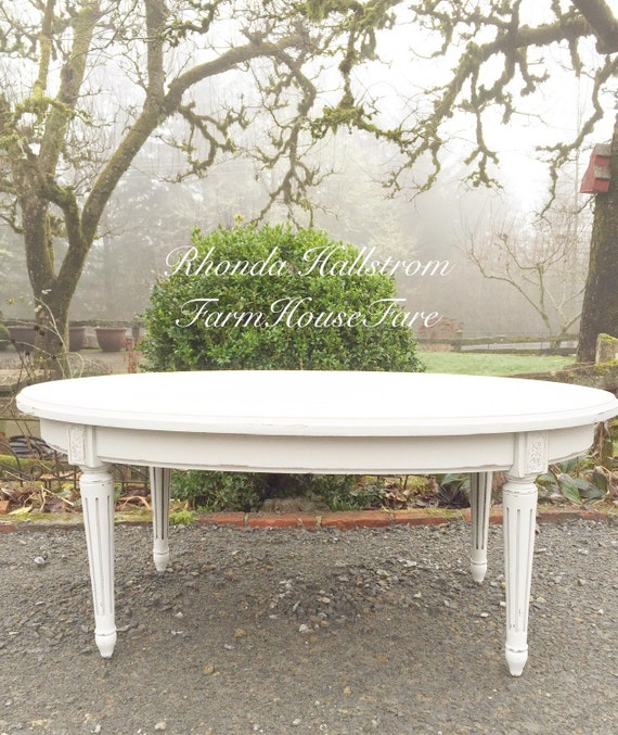 French Provincial Oval Coffee Table: White Oval Coffee Table Vintage Chalk Painted Distressed