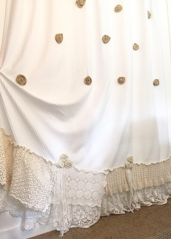 Burlap Ruffle Shower Curtain White Cotton With Crochet
