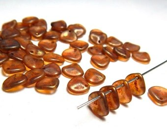 50 Rosaline Copper Picasso Rose Petal Beads, Copper Beads, Orange Beads Czech Beads, Orange Copper Glass Beads, Petal Beads, T-26C