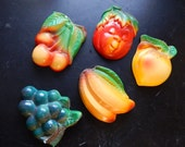 Chalkware Fruit Set: EXTENDED SHIPPING Wall Decor, Retro, Kitsch, Cherries, Pumpkin, Tomato, Peach, Bananas, Grapes, 40s kitchen, Fruity
