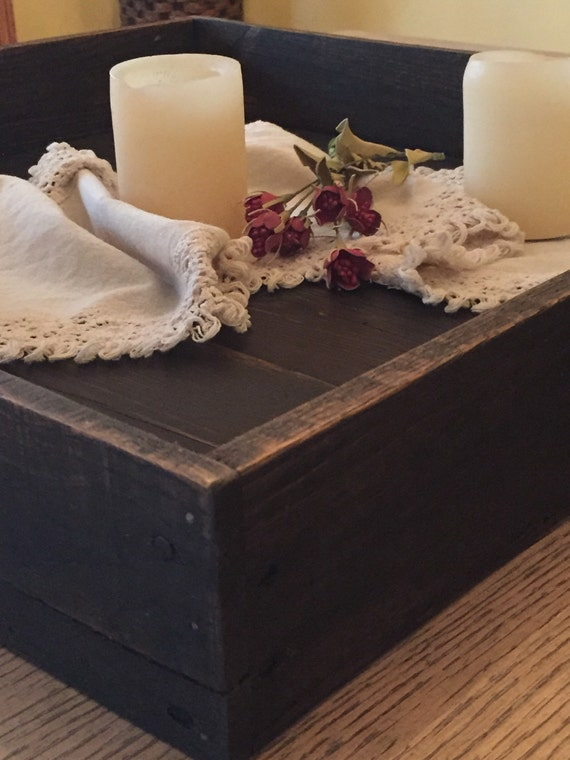 Serving tray wood centerpiece table trough square box