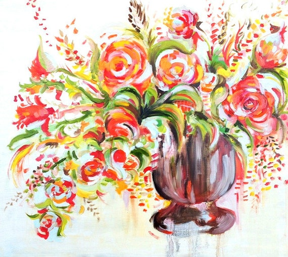 original vibrant floral oil painting by inkbouquet on etsy