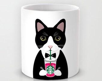 Personalized mug cup designed PinkMugNY- I love Starbucks - Tuxedo Cat