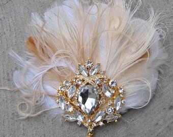 Gold 1920's gatsby headpiece- chamagne gold, crystal headband, rhinestone flapper, gatsby headband, wedding hairpiece