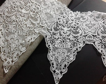 """Lace Trim White Water Soluble Lace Fabric Wedding Fabric 11.5"""" width 1 yard"""