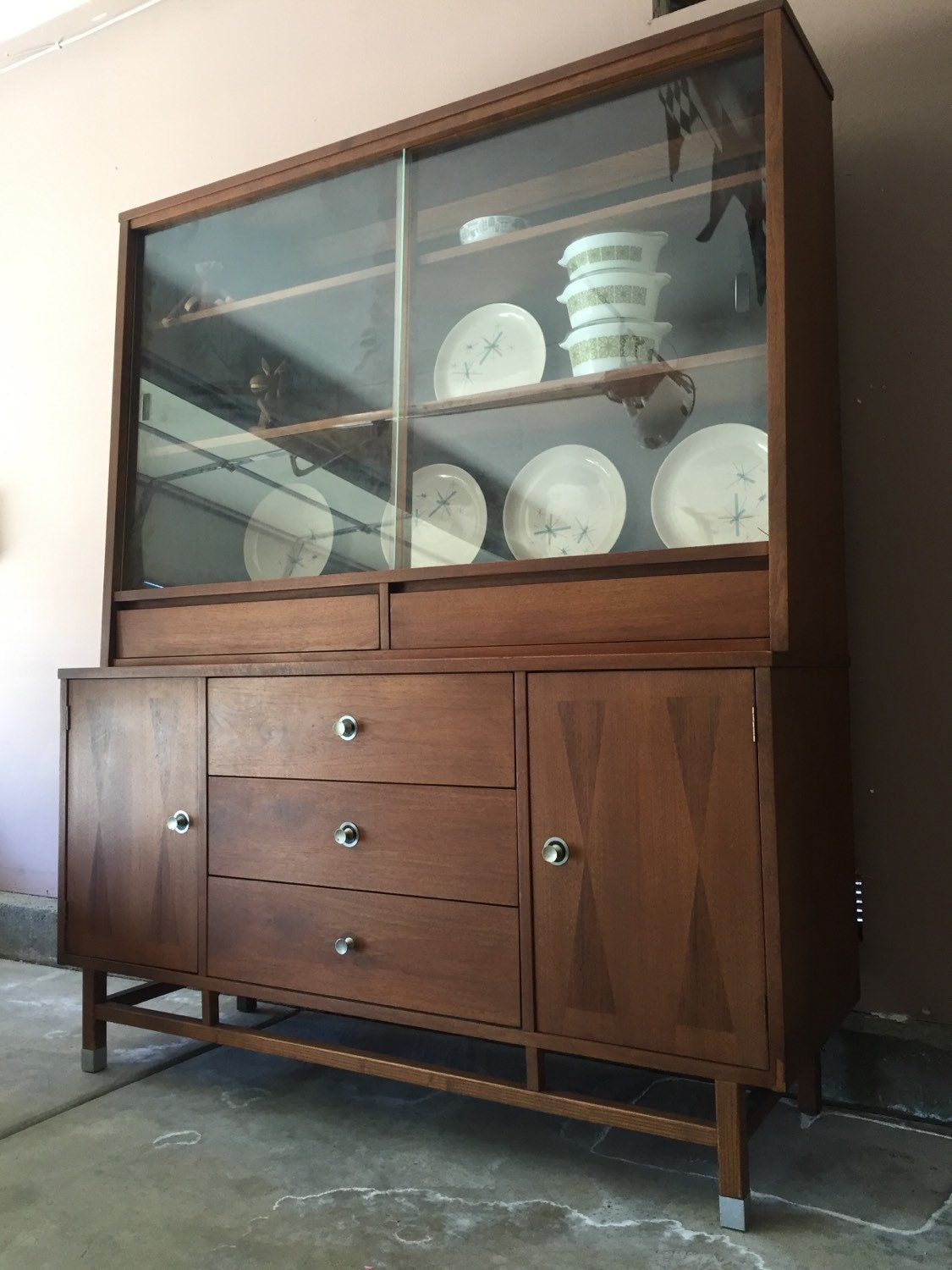 Stanley mid century modern walnut and rosewood hutch ...