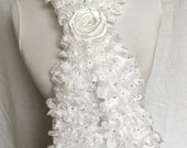 White Christmas Ruffle Scarf with Glittering Sequins Woman Gift For Her Mother's day  Glittering Christmas