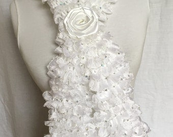 White Ruffle Scarf with Glittering Sequins Woman Gift For Her Mother's day Special Valentine' s Day gift for girls mother woman