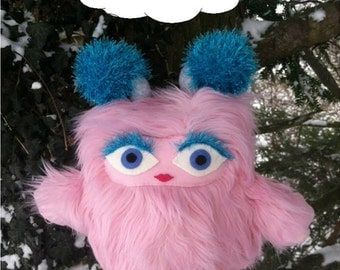 Furrietta the Brumblewump - She is Not a Monster! Pink, furry stuffed animal.  Cute and cuddly children's book character.