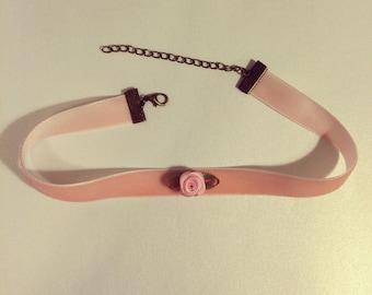 Kawaii Petite Rose Pink Velvet Choker, Lolita Choker