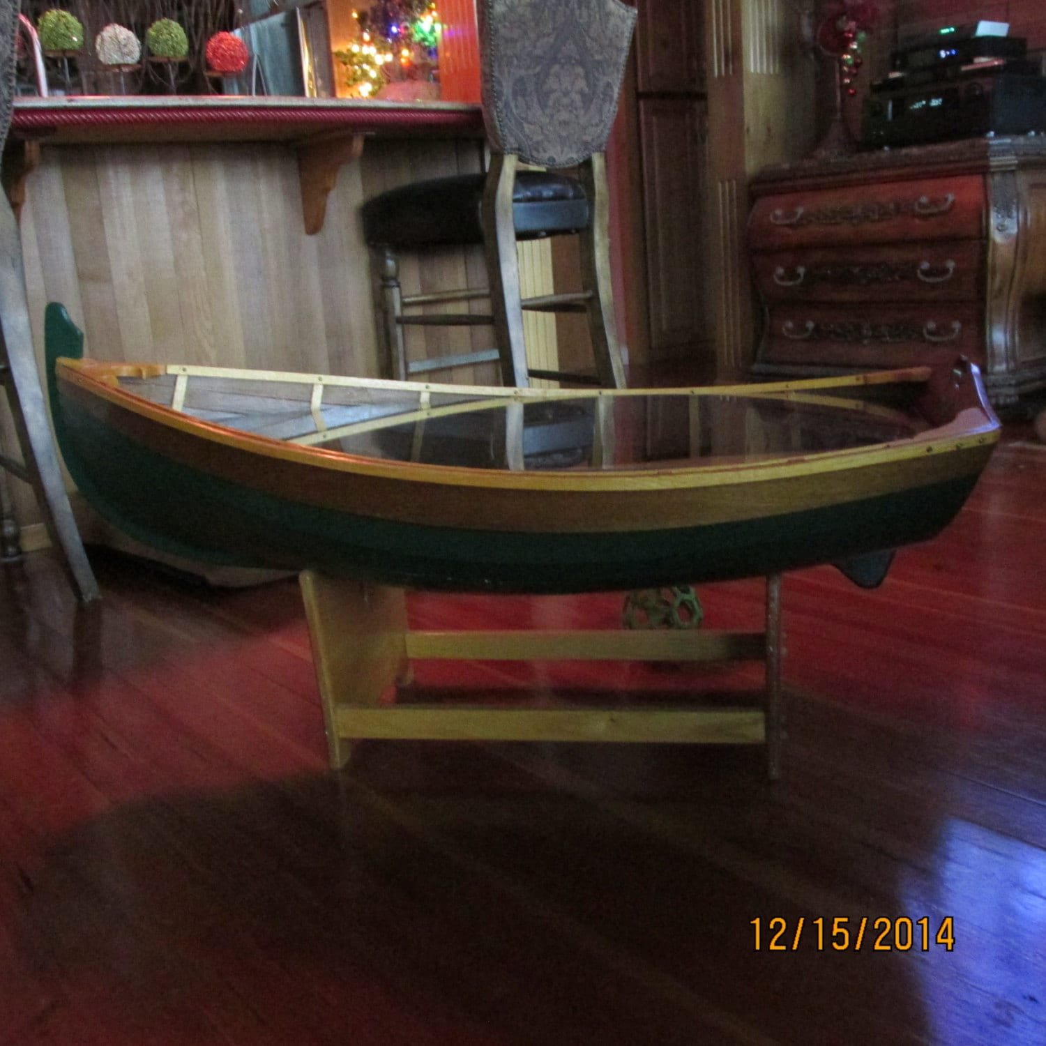 Wooden Boat Coffee Table Artist creation perfect to scale.