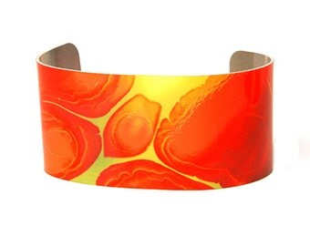 Photo cuff bracelet, aluminum, Amazing Amoeba Abstract, fine art for wrist, HueDew