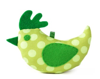 Spring textile green bird, stuffed animal.