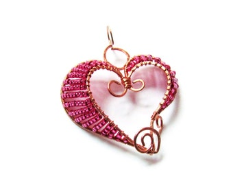 Delicate Pink Heart Pendant, Rose and copper necklace, Pink necklace, Small heart, Rose heart, Wire wrapped copper pendant, Ready to ship