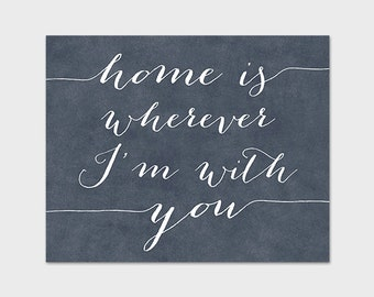 Home Art Print, 8x10 PRINTABLE, Home is Wherever I'm With You, Slate Gray, Charcoal, Instant Download, Indigo Blue
