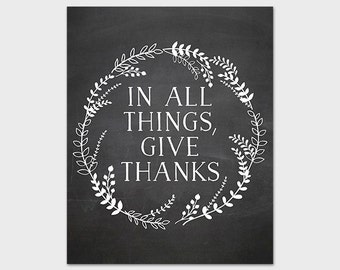 In All Things Give Thanks, 8x10 Printable Art Print, Chalkboard Print, Chalkboard Wreath, Laurel Print, Thanksgiving Print, Instant Download