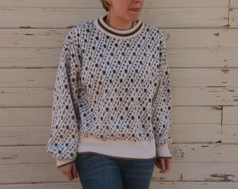 Women's Mod Long Eighties Sweater. Cosby Sweater. Grandpa Sweater. Geometric Shapes. Cotton.Black. White. Dropped Shoulders. Baggy. Hipster.