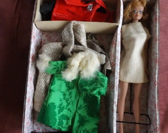 Vintage Mattel Inc 1st Issue 1963 Blonde Midge doll, Model 380, original stand, 1963 black Barbie case 1960s hand made clothing, collectible
