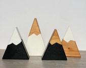 Mini Peaks Quad Set - Black + White, Natural + White, Black + Natural Snow Capped Mountains