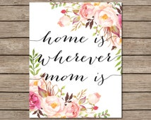 Home Is Wherever Mom Is Printable - INSTANT DOWNLOAD Printable - mom quote - mothers day printable card - mothers day decor - mother quote