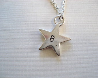 Personalized Star, Star Charm, Stamped Star, Star Necklace, Stamped Star Charm, Star,Silver Star,Personalized Necklace, Star Jewelry,Stamped