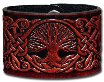 Leather Bracelet 48mm Celtic Tree of Life with Birds (8) mahogany-antique