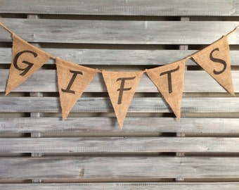 Gifts Burlap Banner, Wedding Burlap Banner, Gift Banner, Party Banner, Wedding Banner, Birthday Banner, Gifts Sign