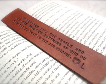 Personalized Tan Leather Bookmark - Custom Lettering - Christmas Present Gift - Birthday Gift - Anniversary - Christmas Custom Leather Gift