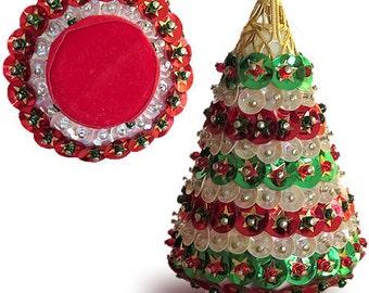 Vintage Sequin Christmas Tree Ornament