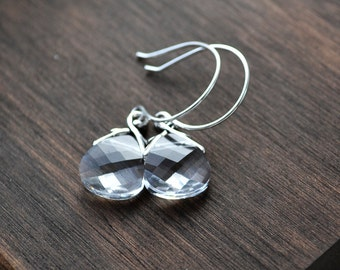 Clear crystal Swarovski briolette with silver earrings