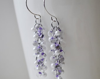 Shaggy Purple and White Glass Bead Earrings Handmade