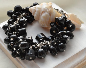 Black beaded cluster bracelet - statement Cha Cha bracelet