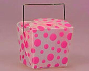 """SALE! 1-3/4"""" x 2"""" x 2-1/2"""" Hot Pink Polka Dot Take Out Box - 6 Quantity"""
