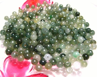 50pcs A Grade Natural Undyed Translucent Jadeite Beads 3mm-4mm Green Round Natural Stone Beads