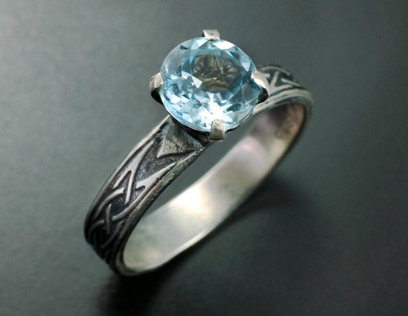 celtic engagement ring unique solitaire ring blue topaz